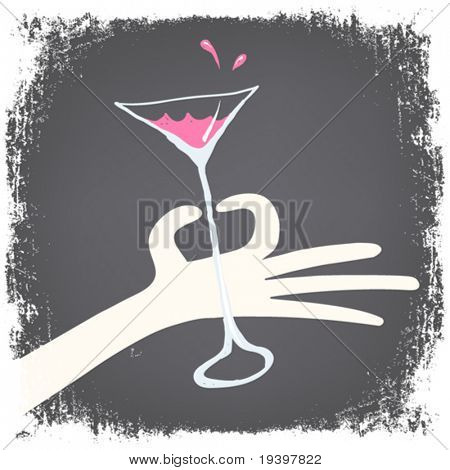 Woman hand holding glass with cocktail.