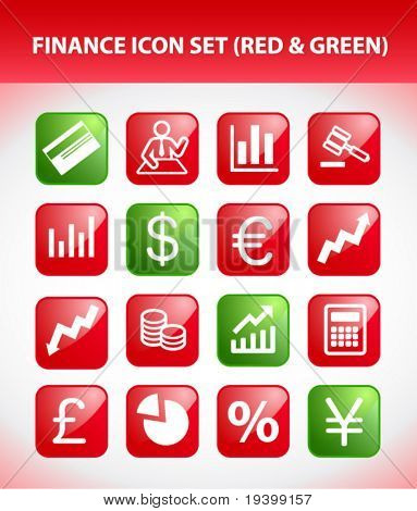 Finance Icon Set (Red & Green)