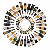 pic of wine bottle  - Wine bottles composition on a white background - JPG