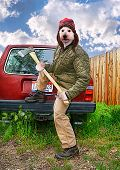 pic of redneck  - a redneck dog with an axe in his hands - JPG