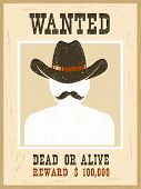 Wanted Poster.western Vintage Paper For Portrait Face poster