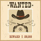 Wanted Card.western Vintage Paper poster