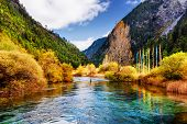 Amazing View Of Scenic River With Crystal Water Among Mountains poster
