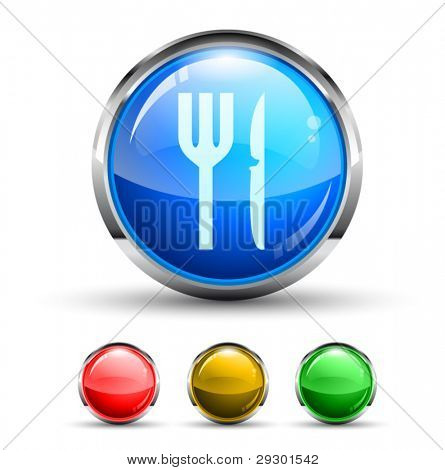 Restaurant Cristal Glossy Button with light reflection and Cromed ring. 4 Colours included.