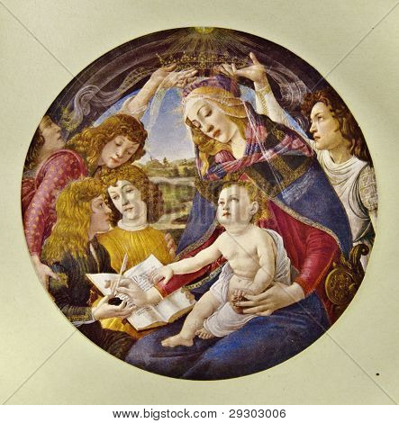 "Sandro Botticelli ""Magnificat Madonna"". Reproduction from illustrated Encyclopedia «Art galleries of Europe», Partnership «M. O. Wolf», St. Petersburg - Moscow, Russia , 1901"