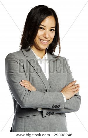 Asian Business Woman Smiling With Crossed Arms