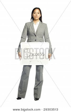 Asian Business Woman Holding Sign