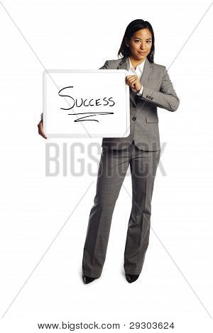 Confident Business Woman Holding Billboard Showing Success Sign