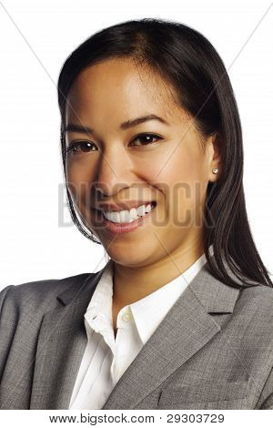 Confident Asian Business Woman On White