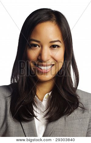 Cheerful Asian Business Woman Smiling At Camera