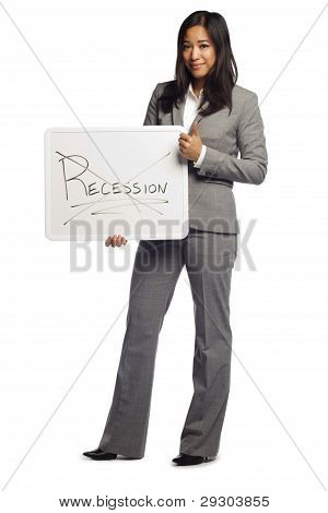 Asian Business Woman Displaying A Sign Of No More Recession