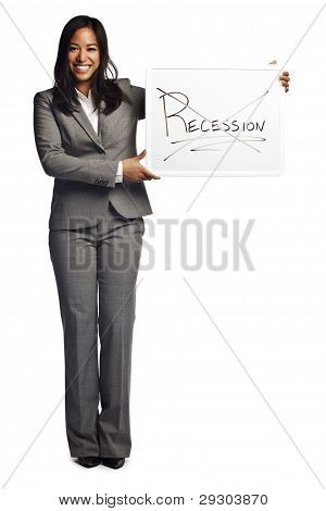 Confident Asian Business Woman Displaying Sign