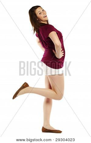Energetic Young Woman Posing Over White