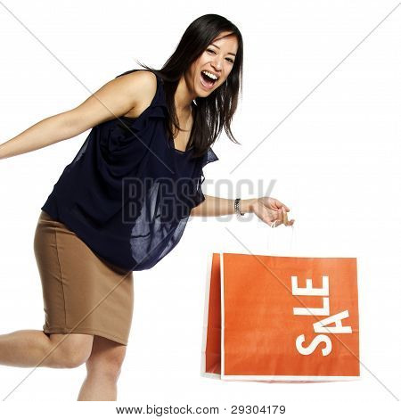 Asian Business Woman Holding Shopping Bag