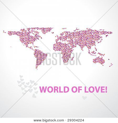 Background - the world of love. Map of the world of multi-colored hearts. Vector illustration for your design.