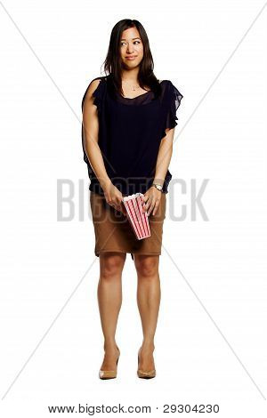 Asian Female Model Holding Popcorn