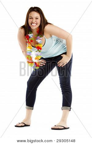 Cheerful Brunette Wearing Garland Posing On White