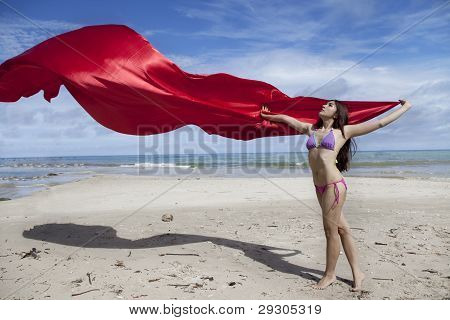Asian Woman With Red Scarf