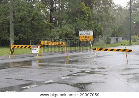 Brisbane, Australia - Jan 25 : One Year On Brisbane Flooding Again, Old Bay Road Closed Burpengay Ja