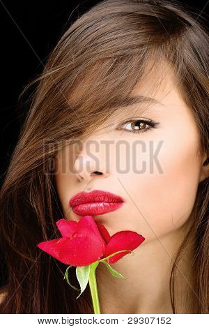 Woman And Red Rose