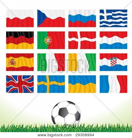 Vector Collection of National Waving Flags for European Football Championship 2012