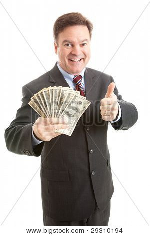 Rich successful businessman  holding a wad of cash and giving thumbsup sign.  Isolated.