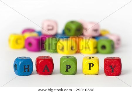 Text Happy Of Colorful Cubes