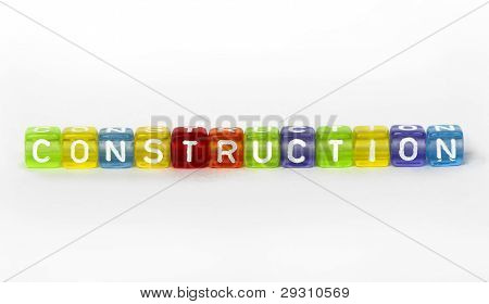 Text Construction On Colorful Wooden Cubes