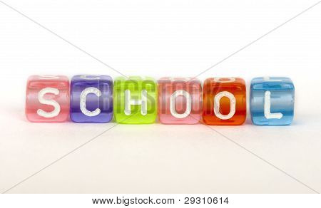 Text School On Colorful Cubes