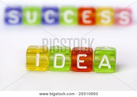 Text Idea And Success On Colorful Wooden Cubes