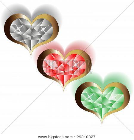 Three Brilliant Vector Hearts On The White