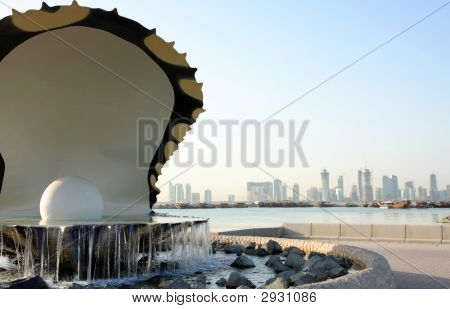 Oyster Fountain And Skyline In Doha