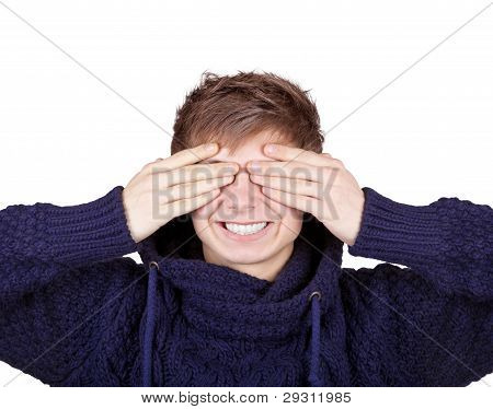 Boy Shut His Eyes With Hands