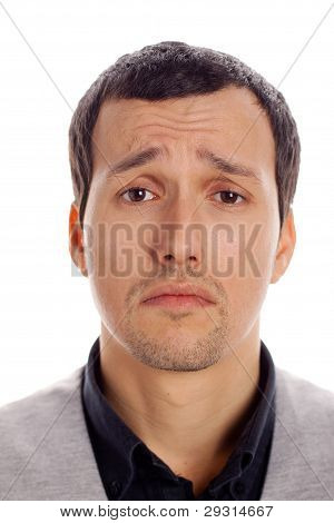 sad man with white background