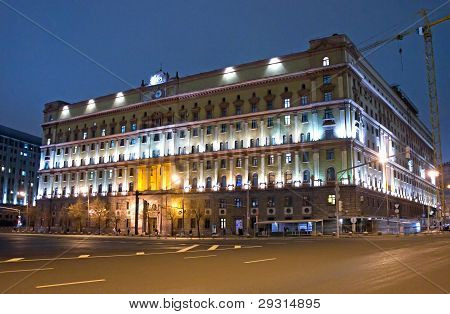 Moscow, Former Kgb Headquarters, Night View