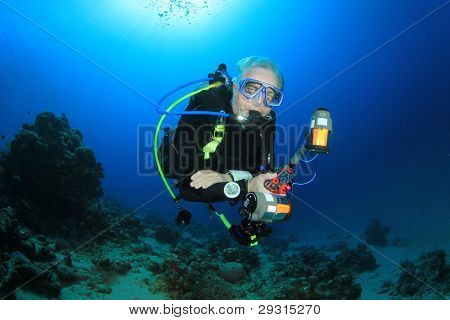 Underwater Photographer on scuba in the Red Sea