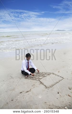 Drawing A Laptop On The Sand