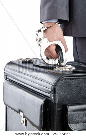 Man with briefcase and handcuffs