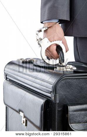 Homem com maleta e algemas