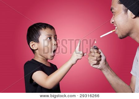 Asian Boy Ask His Father To Quit Smoking