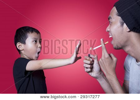 Cute Boy Asking A Smoker To Stop Smoking