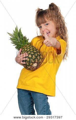 Portrait of happy little girl with pineapple giving you thumbs up over white background