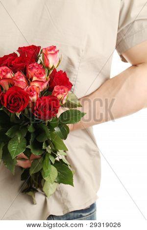 Man holding roses