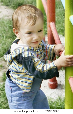 Cute Baby Boy Outdoor Portrait