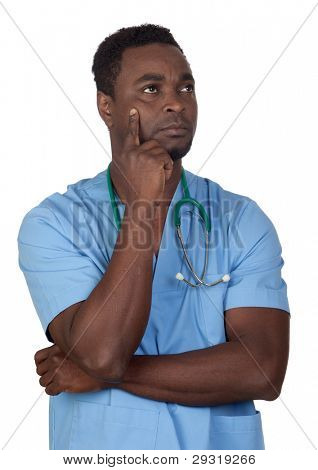 African american doctor with blue uniform thinking isolated on a over white background