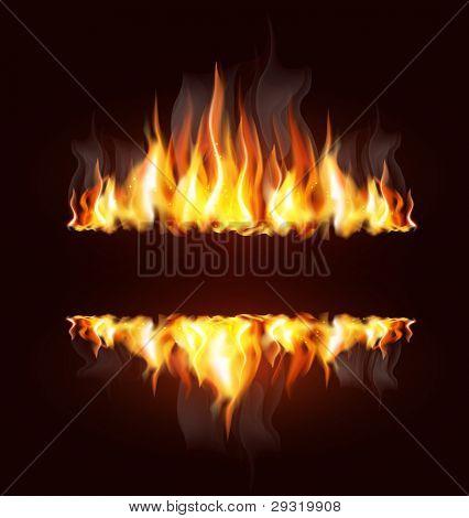 Vector de fondo con una llama ardiente y colocar texto