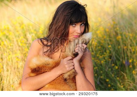 Woman Cuddling Fox Fur