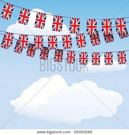 Escribano de la Union Jack en el fondo de la nube con espacio para su texto. Formato del vector EPS10