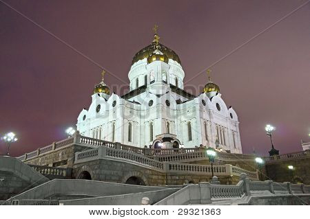 Moscow, Cathedral Of Christ The Saviour, Night View