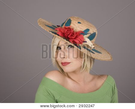 Blonde In Flowered Hat Slanted